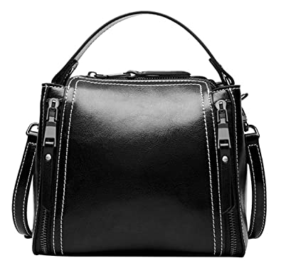 9133c51bc411 SAIERLONG Ladies Designer Womens Black Genuine Leather Handbags Tote ...