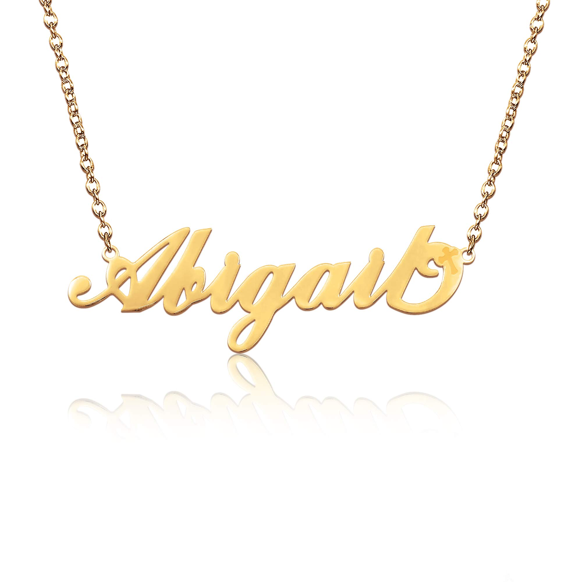 "BeautyName Name Necklace Yellow Gold Stainless with Chain 17""+2"" Extension- New Mom Bridesmaid Gift Jewelry for Women"