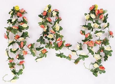 NewCY 2 Piezas Falso Rosa guirnalda Flores Plantas artificiales de vid para la boda casera Jardín