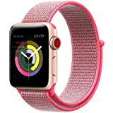 Tces Sport Wristbands Compatible for Apple Watch Band 38mm 42mm, Soft Lightweight Breathable Woven Nylon Sport Loop Replacement Strap Compatible for iWatch Apple Watch Series 3 2 1, Nike+, Edition