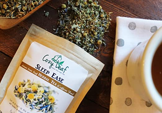Sleep Ease - organic artisan loose leaf herbal tea blend by Cozy Leaf