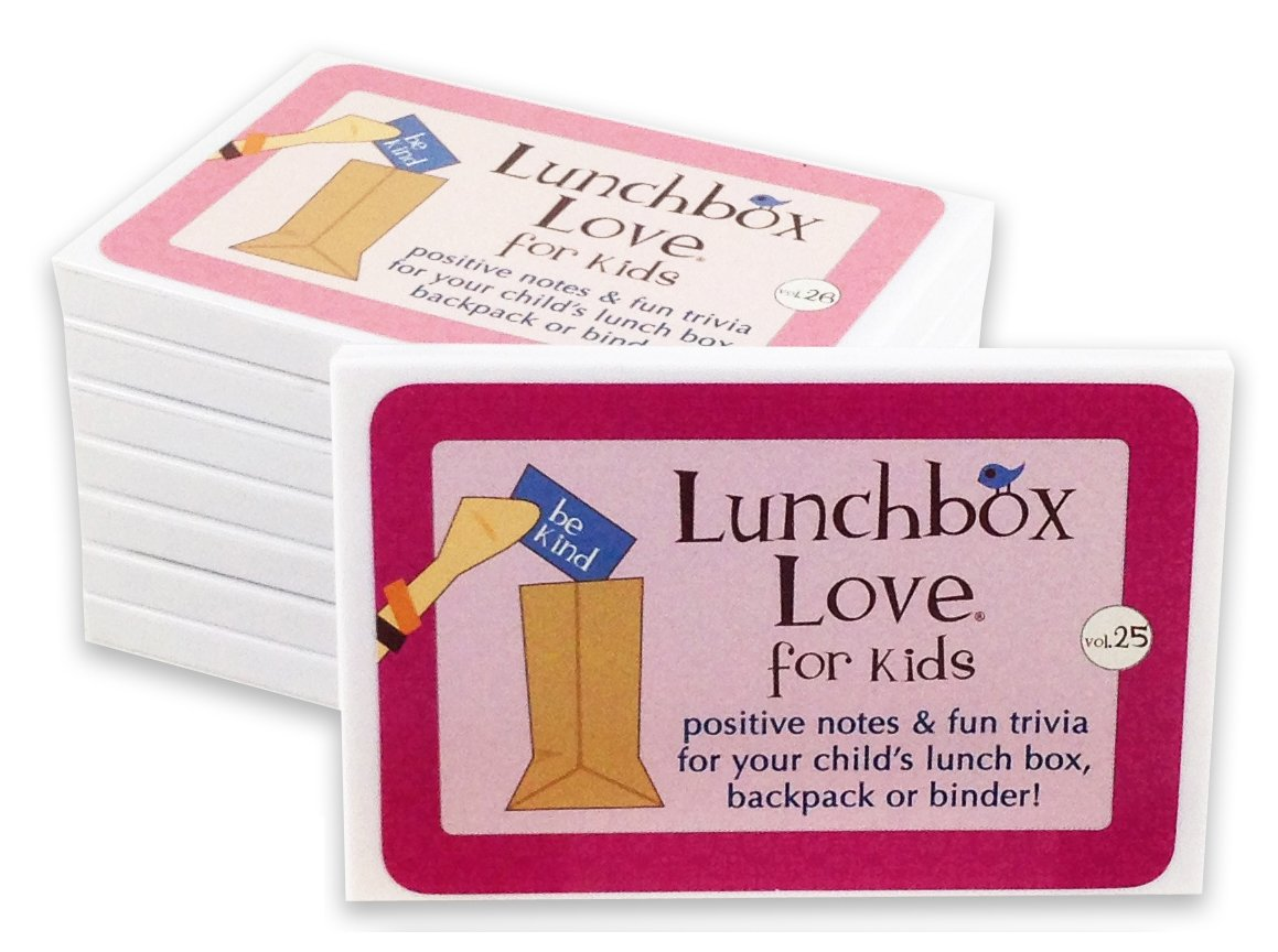 Lunchbox Love Notes for Kids by Say Please. 96 positive lunch notes and fun trivia for your child's school lunchbox, backpack, or binder. (Volumes 25-32)