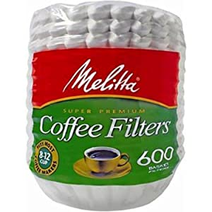 Melitta 600 Coffee Filters, Basket, Pack of 600, 8-12 Cups White