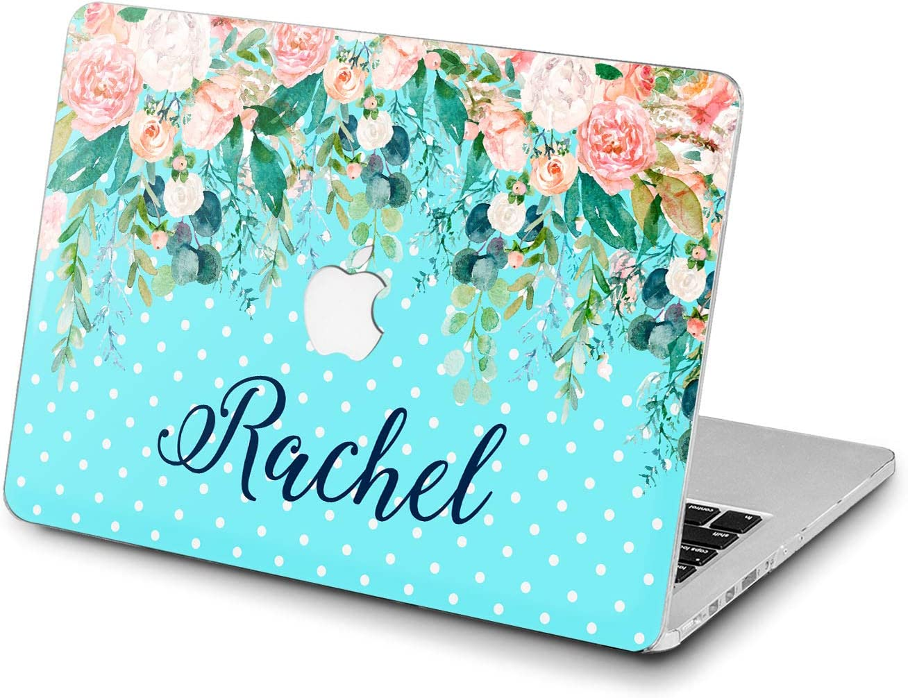 Lex Altern Hard Case for Apple MacBook Pro 15 Air 13 inch Mac Retina 12 11 2020 2019 2018 2017 2016 Cover Floral Name Protective Design Print Touch Bar Leaves Plastic Monogram Lush Blue Flower Rose