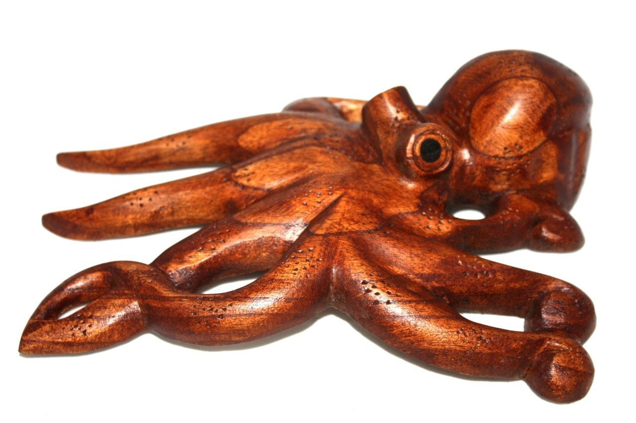 TikiMaster Hawaiian Octopus Tako''HE'E'' - Hand Carved 10''   #non0520