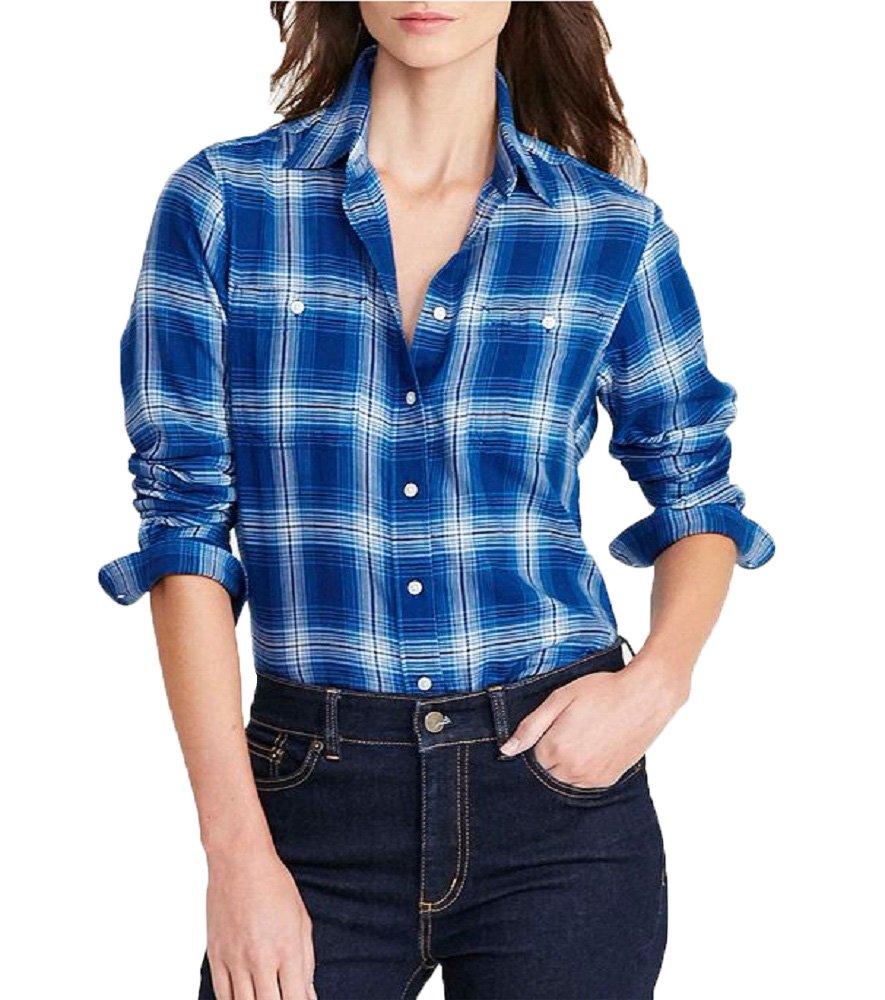 Lauren Ralph Lauren Plaid Cotton Twill Shirt (Blue, M)