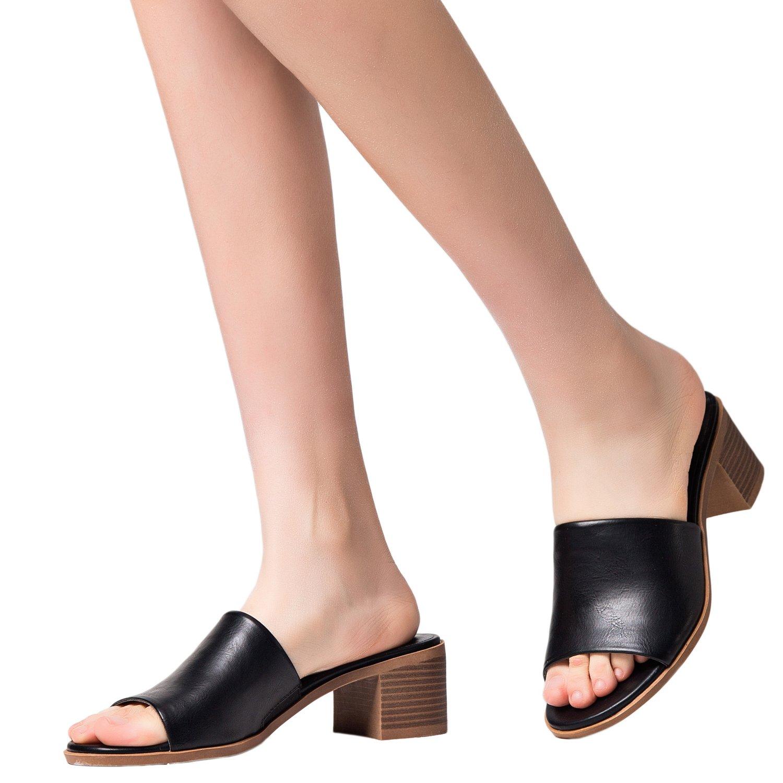 Aukusor Women's Low Heel Sandals, Open Toe Pump Heel Slide Sandals, Summer Shoes for Girls. (180104, Black, 8)