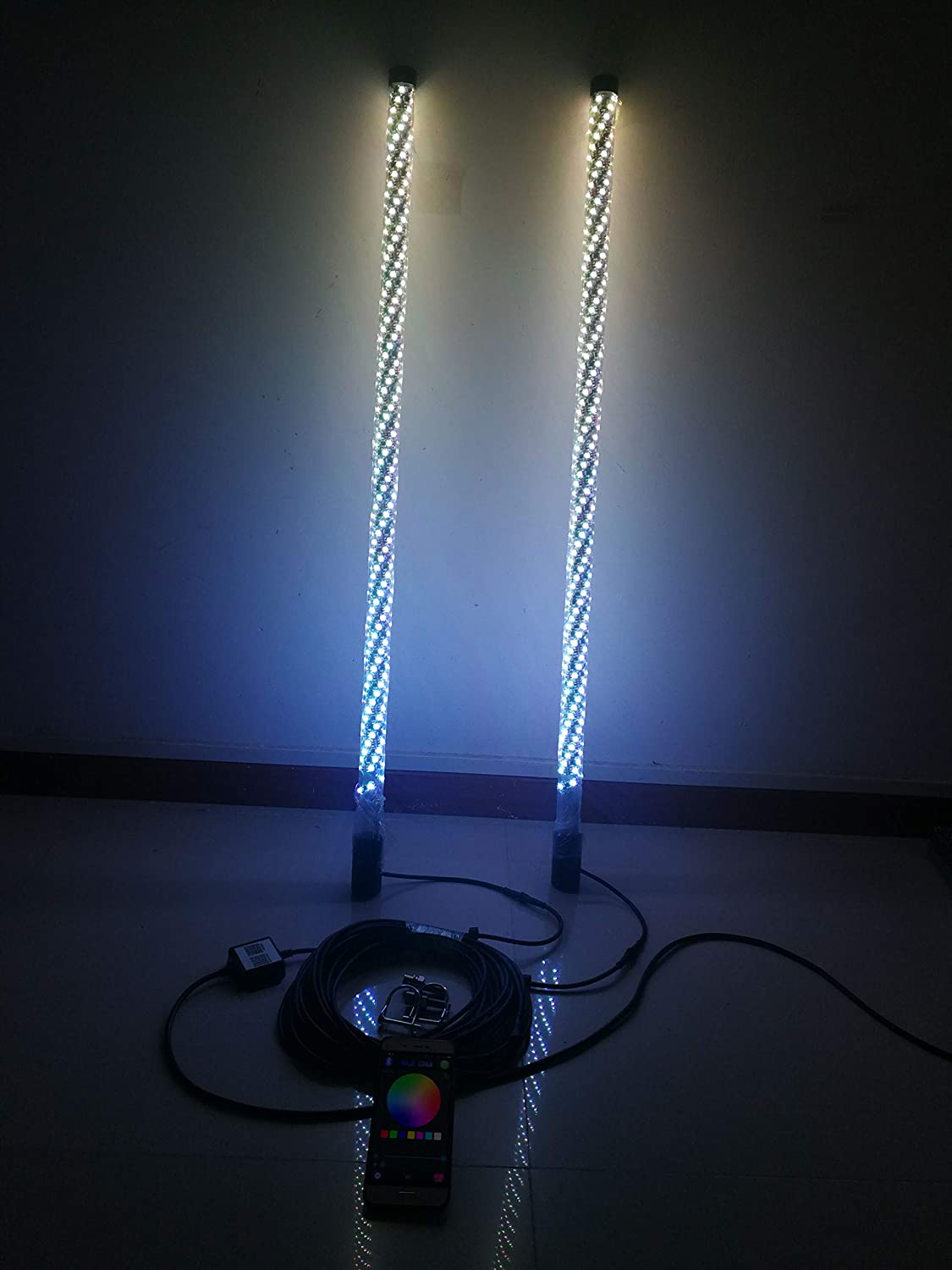 Pair of 4 Feet IP67 Waterproof Brightest RGB LED Whip Lights Wrapped Spiral Twist Blue-tooth App Controlled
