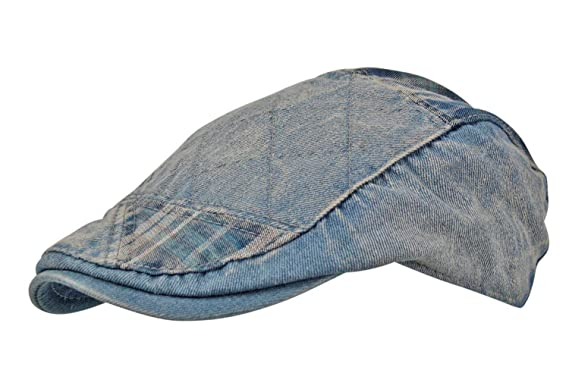 ea7ba16958d Itzu Men s Distressed Denim Wash Patchwork Check Adjustable Cotton Flat Cap  (Light Wash)