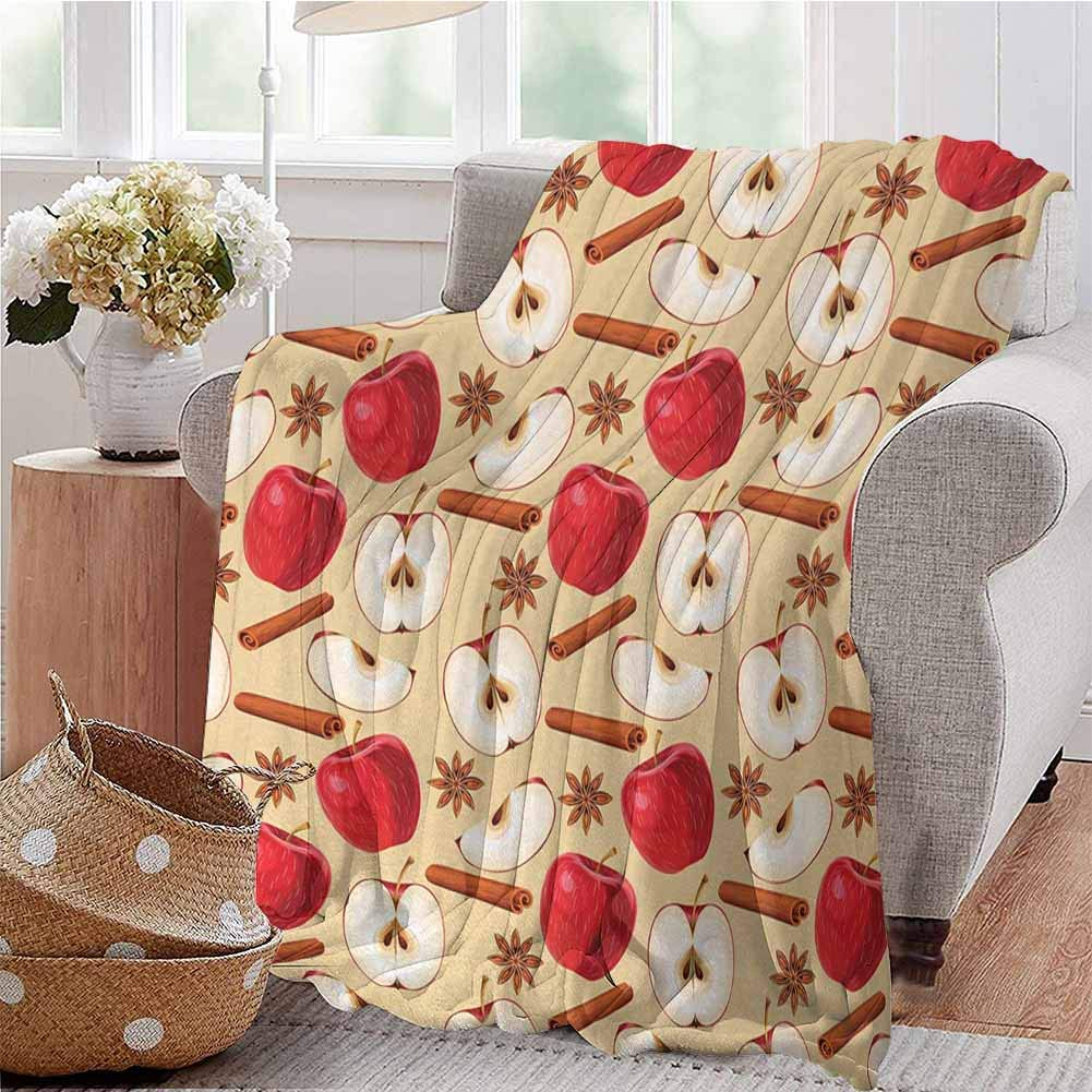 CRANELIN Boys Throw Blanket Quartered and Halved Apples with Cinnamon Sticks and Star Anise Diet Recipe Beige Cinnamon Red Dorm Bed Baby Cot Traveling Picnic W59 xL71 by CRANELIN