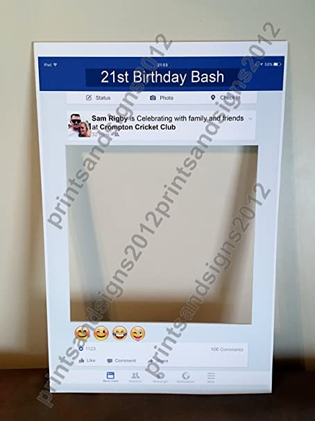 Personalised Facebook Social Media Party Selfie Photo Frame Party ...
