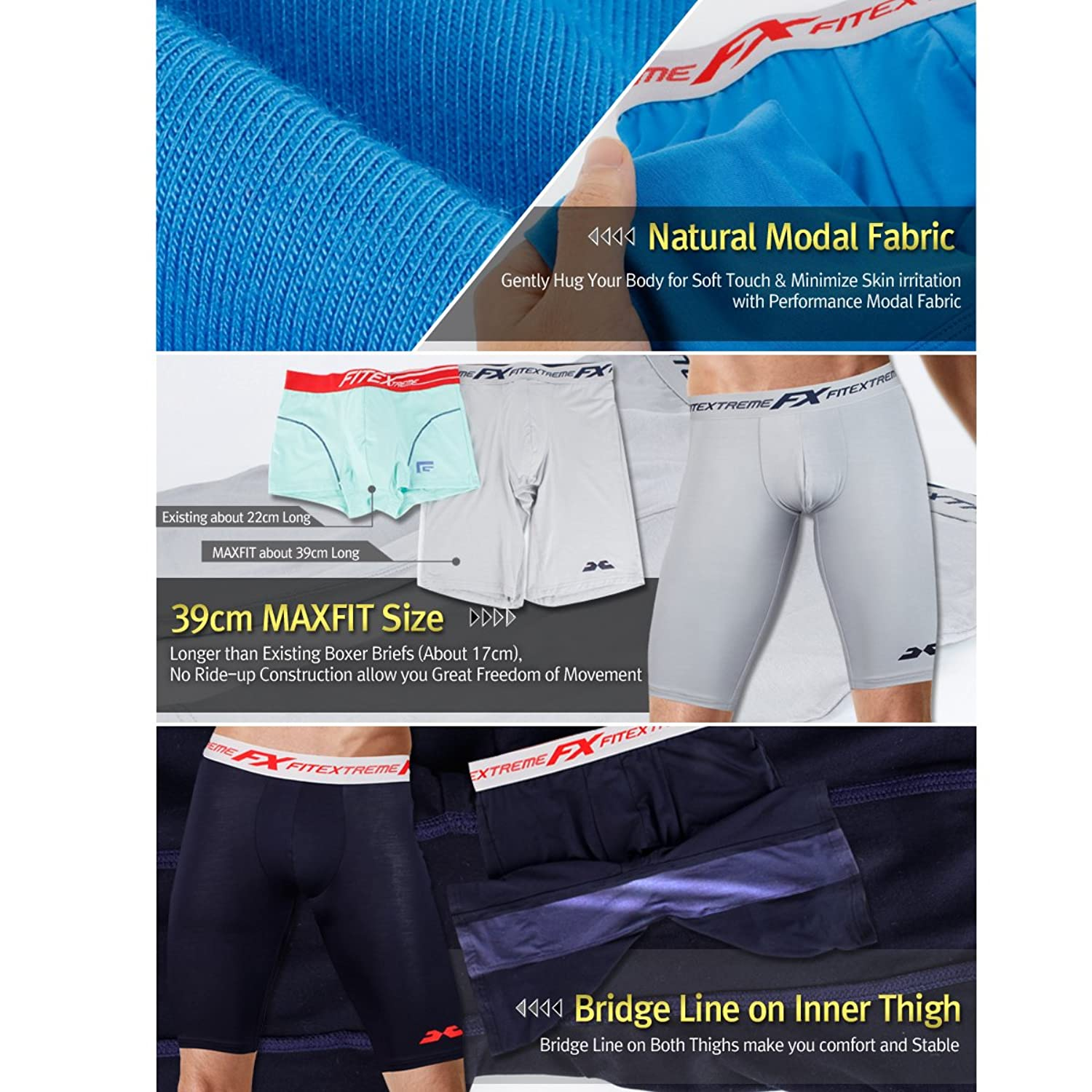 FiteX Men's 3 Pack Max Fit Modal Sports Performance Stretch Long Boxer Briefs