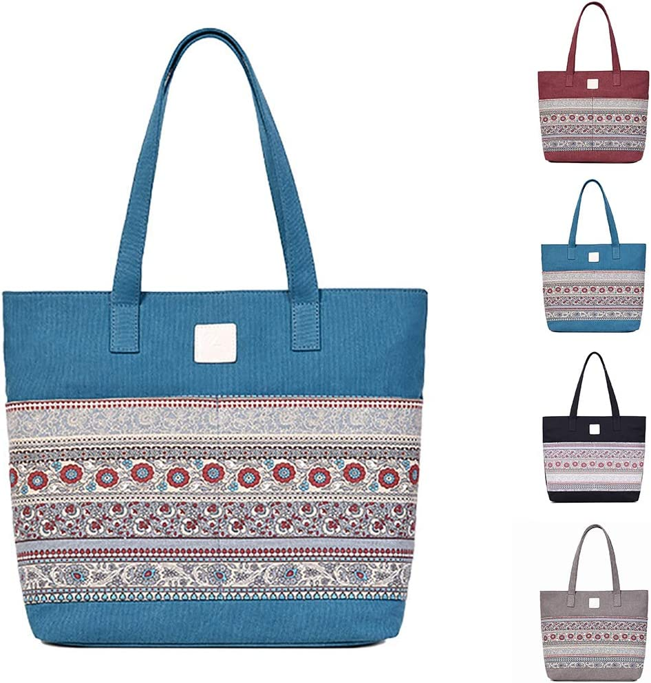 COAFIT Womens Tote Ethnic Style Large Shopping Handbag Travel Shoulder Bag Black