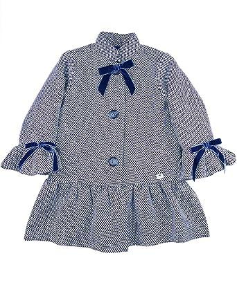 EVE CHILDREN - Abrigo para niña. Azul Jaspeado. Volantes en Las Mangas y el bajo. Adornado con Lazos de tericopelo. Cierre con Botones.
