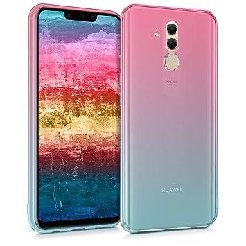 kwmobile Funda para Huawei Mate 20 Lite - Carcasa para móvil de TPU con diseño Bicolor - Rosa Fucsia/Azul/Transparente