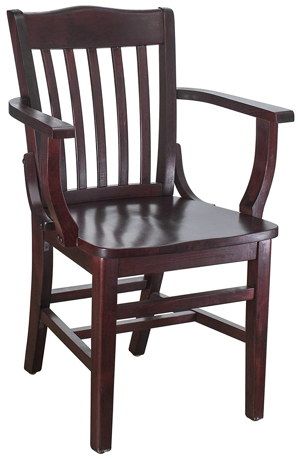 Beechwood Mountain BSD-2A-Dm Solid Beech Wood Arm Chair in Dark Mahogany for Kitchen Dining
