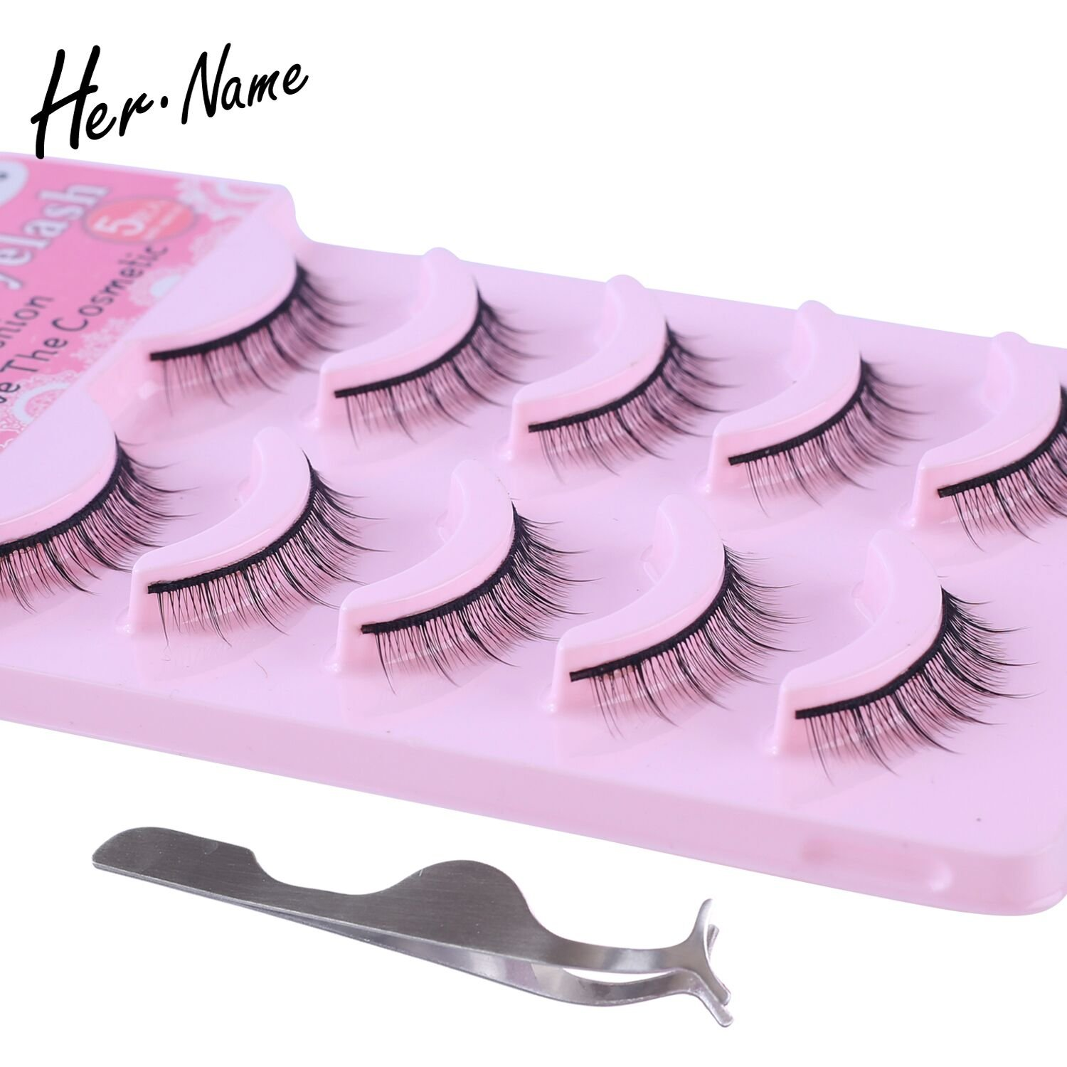 HERNAME natural short false eyelashes hot sale new fashion 100% makeup tools handmade glue for eyelash 5 pairs fake eye flash Her name