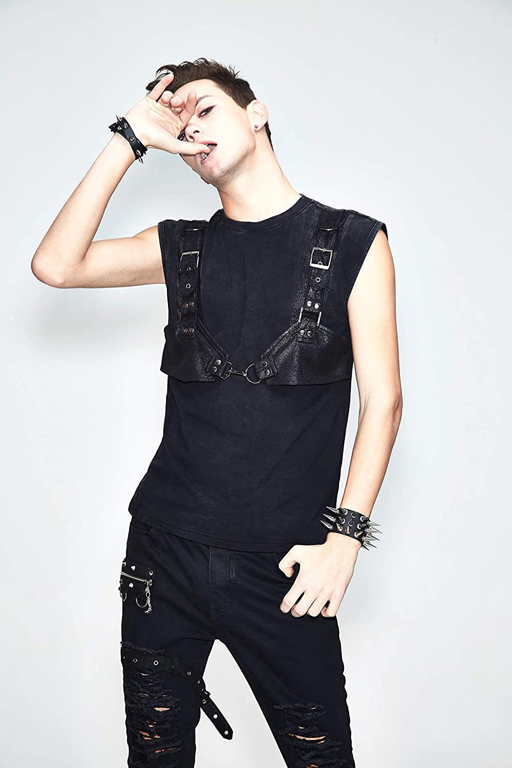 Black S Punk Men Sleeveless Vest with Hat Gothic Leather Straps Decorated Summer Shirt Tops