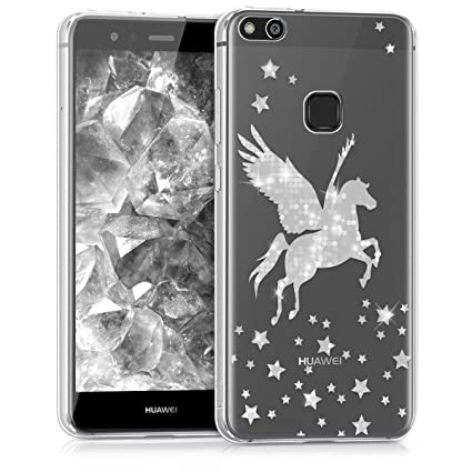 kwmobile TPU Case for Huawei P10 Lite - Soft TPU Silicone Cover - Crystal Clear Back Case IMD Design - Silver/Transparent