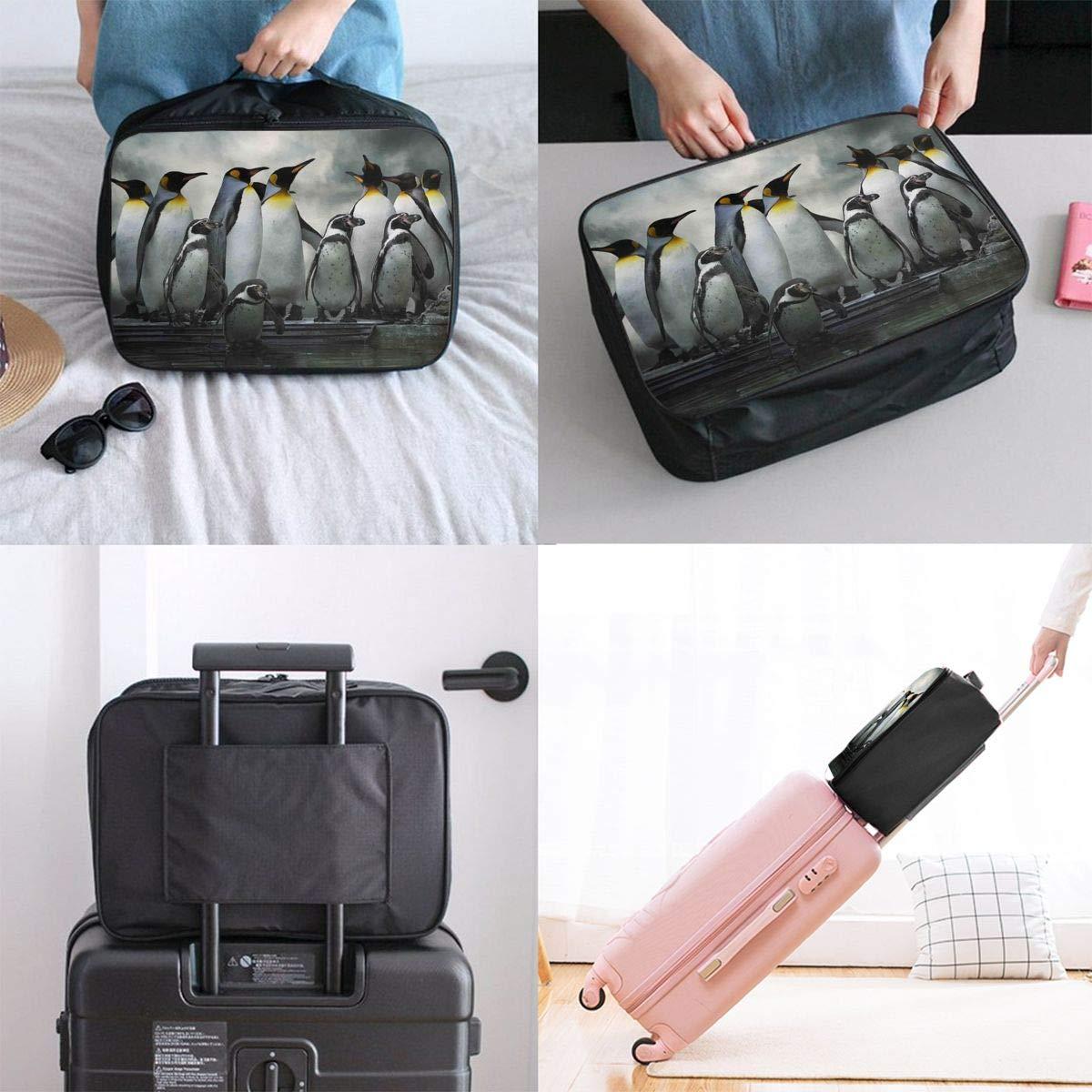 Travel Luggage Duffle Bag Lightweight Portable Handbag Penguin Print Large Capacity Waterproof Foldable Storage Tote