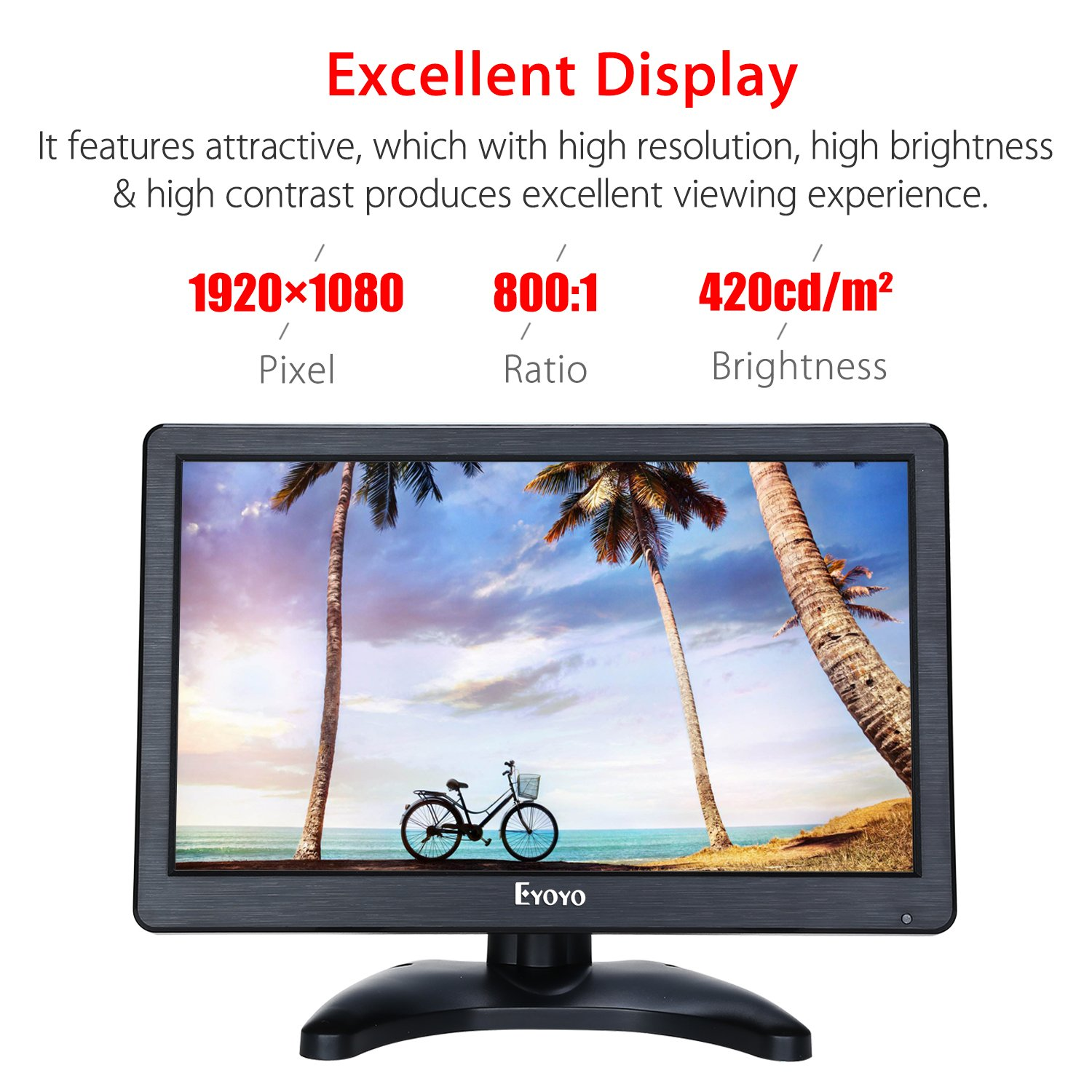 Eyoyo 12 inch HD 1920x1080 IPS LCD HDMI Monitor Screen Input Audio Video Display with BNC Cable for PC Computer Camera DVD Security CCTV DVR Home Office Surveillance by Eyoyo (Image #1)
