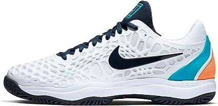 Nike Men's Zoom Cage 3 Tennis Shoe (10.5 D US, White/Obsidian/Light  Carbon/Light Blue Fury)