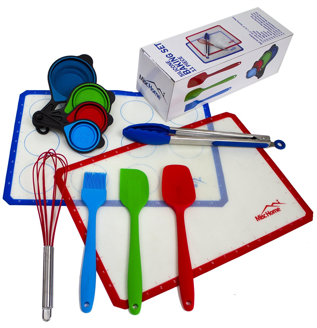 [Best Value] 11 Pcs Silicone Baking Set All BPA-Free 2 Silicone Baking Mats Silicone Spatula Set + Brush + Whisk + 4 Collapsible Silicone Measuring Cups + Stainless Steel Tongs w/ Silicone Tips