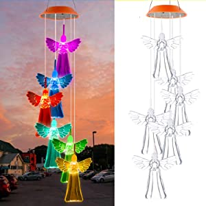 Solar Wind Chimes Changing Colors, Decorative Angel Hanging Windchime Lights for Outdoor Decor Home Patio Yard Lawn Garden Backyard LED Sympathy Memorial Outside Decorations Gift for Mom Grandma Women