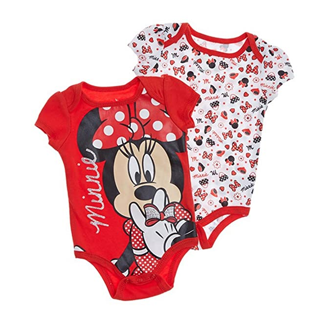 5fae99038ecc Image Unavailable. Image not available for. Color  2PK Disney Minnie Mouse  Baby Bodysuit Baby Romper ...