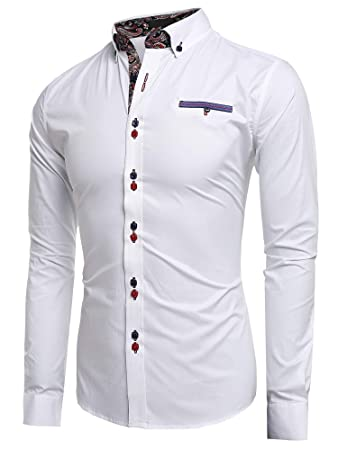 5e2114a12852 Sholdnut Fashion Men's Formal Slim Fit Solid Turn Down Collar Dress Shirt  White: Amazon.com.au: Toys & Games