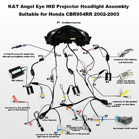 amazon com kt led angel eye headlight assembly for honda cbr954rr rh amazon com