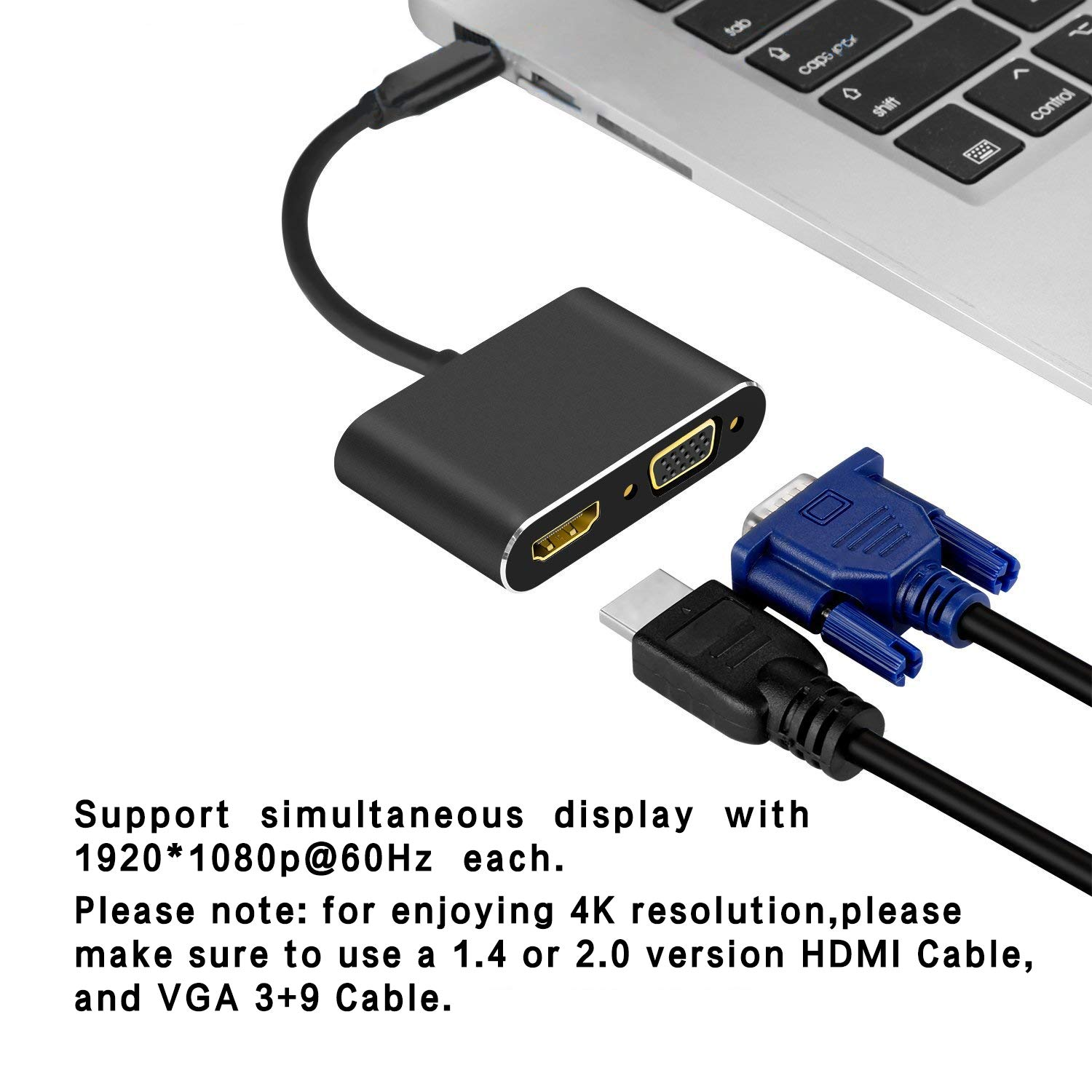 DUTOP 2 in 1 USB-C to HDMI Adaptor USB Type-C to VGA Converter Port and HDMI Cable for Macbook8/9/10,MacbookPro13,MacbookPro14,iMac18,Matebook,Notebook,Air12,ThinkPadX1,Lenovo,Huawei,iphone8 and More