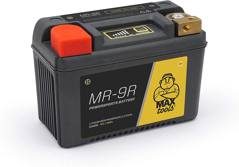 MAXTOOLS MR-9R, Batería LiFePO4 Superligera, para moto, quad y ATV, de 12V, con Carcasa Reforzada y Indicación de Estado de Carga, Derecha, Negro, 210 cca