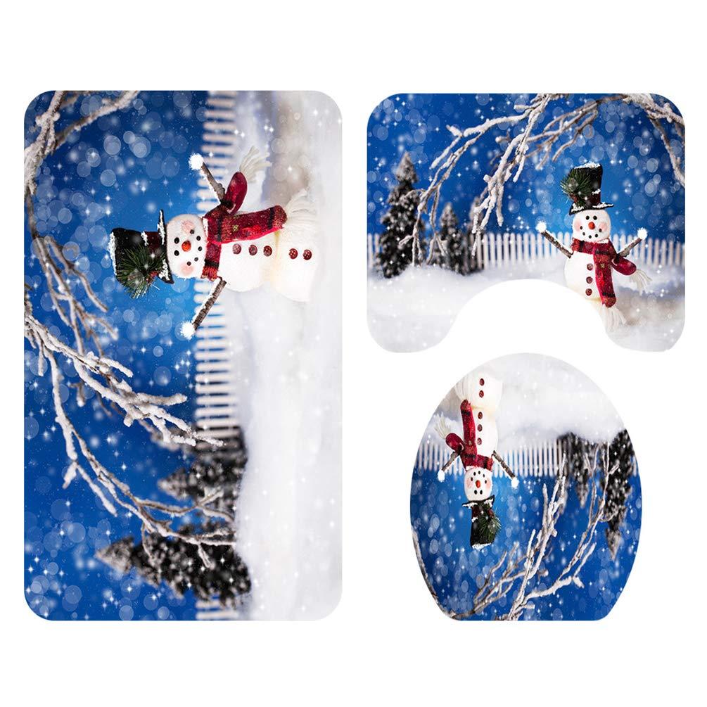 Mu/ñeco de Nieve 4 Pcs Juego de Cortinas de Ducha Navide/ñas Port/átiles para Cuarto de Ba/ño Highbeastbe Juego de Cortinas y Tapetes de Ducha Navide/ños 1