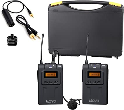 Movo WMIC70 Sistema de micrófono de Solapa inalámbrico UHF de 48 ...