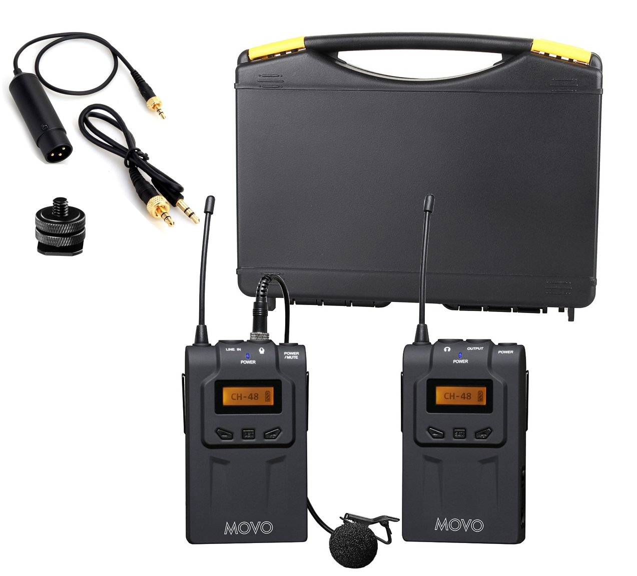 Movo WMIC70 Wireless Lavalier Microphone System - 48 Channel UHF Lapel Mic System with Cordless Mic, 3.5mm XLR Output, and Carrying Case (328-foot Range) by Movo