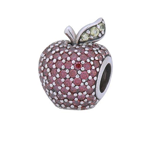 Pandora Damen-Bead Glänzend roter Apfel 925 Silber Zirkonia Kristall – 791485CFR