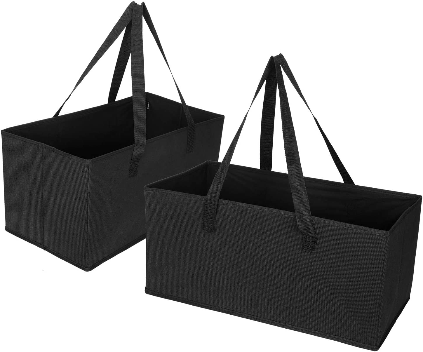 VENO 2 Packs Extra Large Reusable Grocery Shopping Bags, Storage Boxes, Handy, Premium Quality, Heavy Duty Tote with Handles, Reinforced Bottom. Foldable, Collapsible, Made from Recycled Material (XL)