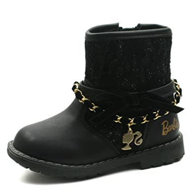 Barbie,Kids Girls BA130 Mid Calf Warm Lined Baby Boots with Side Zip and  Chain Trim