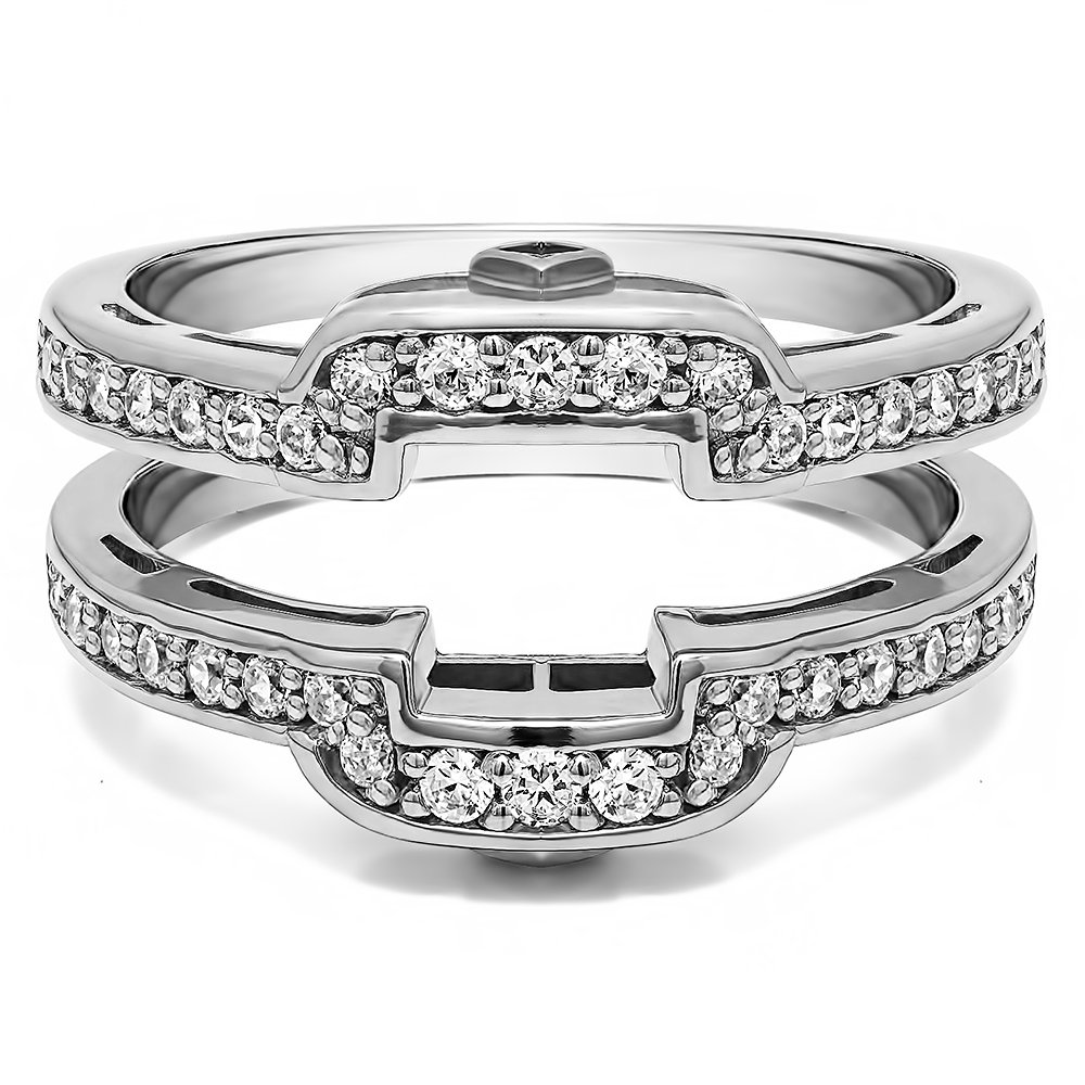 TwoBirch .50 Ct. Square Halo Peek-a-Boo Wedding Ring Guard in Sterling Silver with Cubic Zirconia (Size 7.5) by TwoBirch