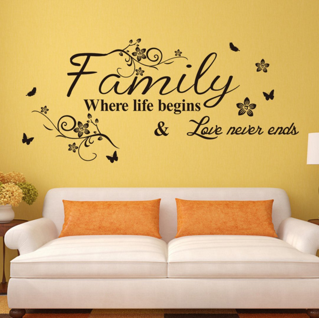 Family forever\' bedroom decorative stickers removable waterproof ...