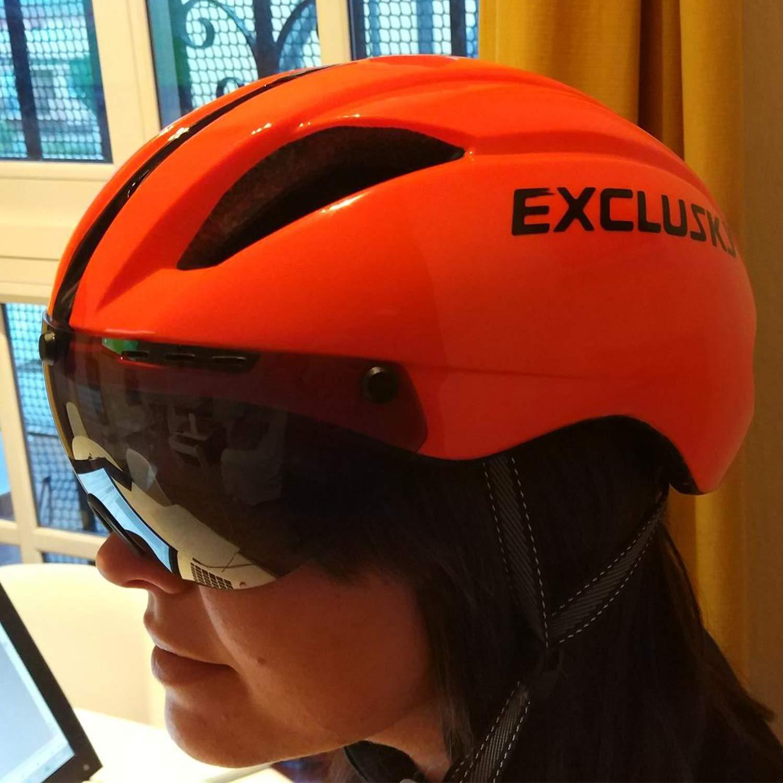 Exclusky AGT Road Bike Helmets for Women Men with Detachable Shield Visor Adjustable M L Size 22-24 Inches .