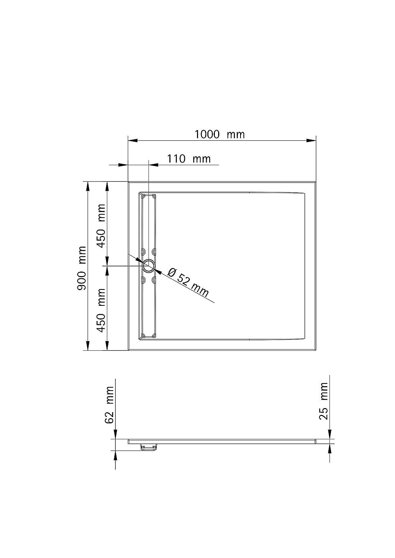 inkl Ablauf mit Rinnenabdeckung wei/ß und F/ü/ßen Sanit/är-Acryl alpin-wei/ß Schulte Duschwanne 90x90 cm Quadrat extra-flach 2,5 cm