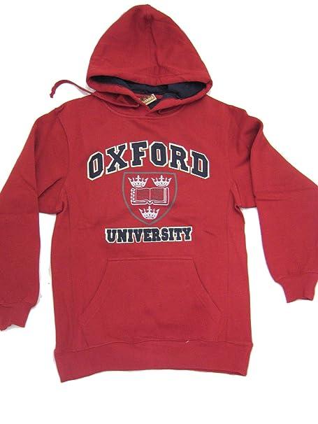 Oxford University Crestado Aplique Sudadera Con Capucha - algodón, Rojo Escarlata, 80% algodón