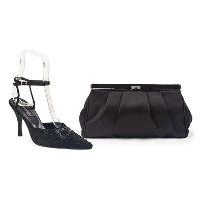 Farfalla Lujo Zapatos a Juego y Bolsa, Color Negro, Talla 36.5