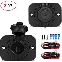 Nilight 2 Pack Car Cigarette Lighter Socket DC 12V Waterproof Power Outlet Adapter Replacement with Terminals Wires and…