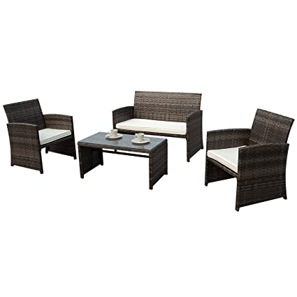 PATIOROMA 4 Piece Wicker Patio Furniture Set, Rattan Sectional Furniture  Set With Cream White