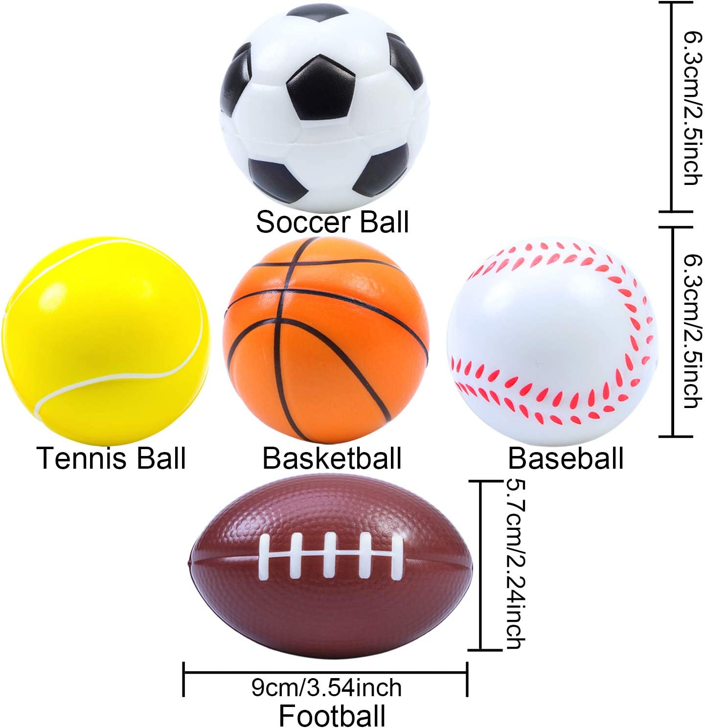 24 PACK MINI STRESS SPORTS BALLS BASKETBALL SOCCER TENNIS BASEBALL BALL SQUEEZE