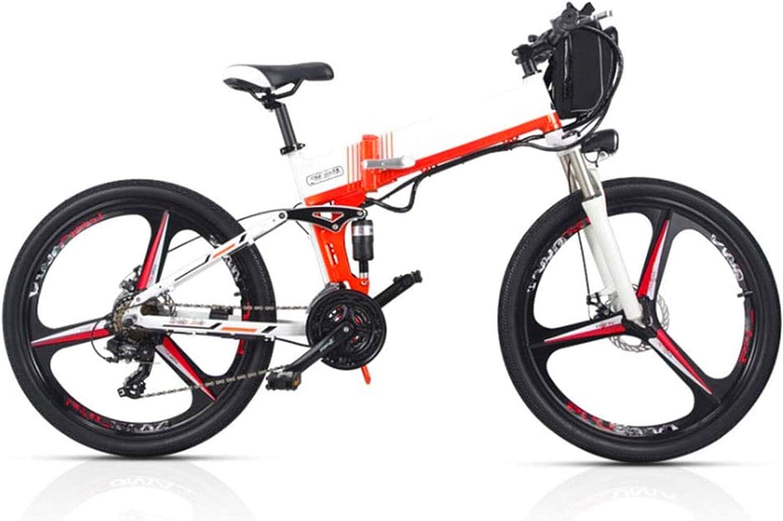Bicicletas Eléctricas, Plegable eléctrico de bicicletas de montaña, 350W Motor 26''Commute Viajar adulto bicicleta eléctrica de 48V batería extraíble opcional batería de doble Estilo hasta 180 km Dura