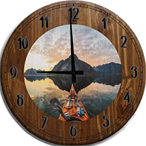Mnk Large Wall Clock 12 Inch Sea Kayak on a Smooth Glass Sunrise at The Lake Bar Sign Home Décor Brown Wall Decor